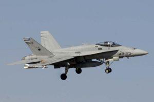 Uno de los Halcones, los F/A-18 de la base aérea de Gando, así llamados por su emblema.