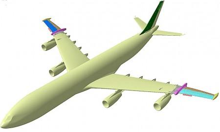 Imagen Catia del A340-300 con las semialas de flujo laminar.
