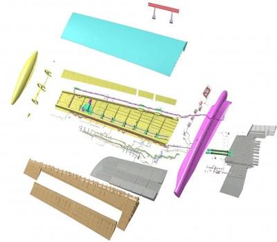 Despiece de la nueva semiala. Aernnova es responsable del diseño del carenado que la une al resto del ala (en amarillo a la izquierda); y del cajón alasr y la cubierta inferior, piezas que además ha construido, También ha fabricado la estructura trasera que rodea a los alerones.