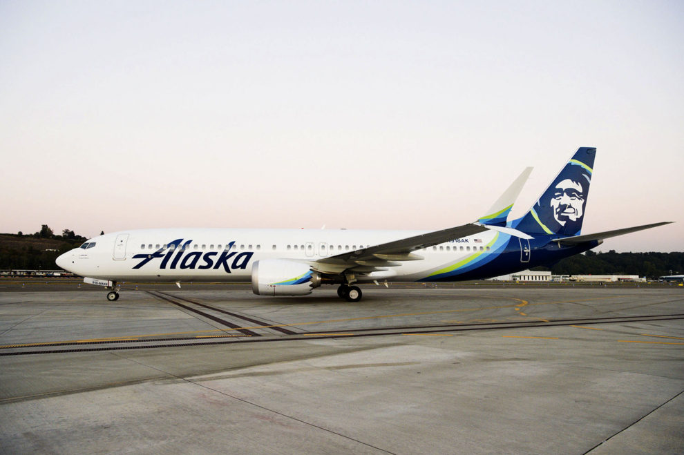Uno de los Boeing 737 MAX 9 ya construidos para su entrega a Alaska Airlines.