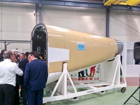 Sección 19.1 del A350 fabricada por Alestis. Concretamente esta es la del primer A350-1000 que se entregó el pasado mes de febrero.