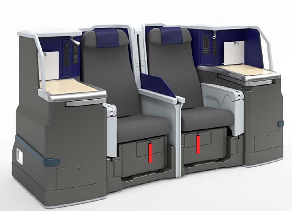 Asientos de business para el Aibus A380 de ANA. Los que están junto a las ventanas son individuales y los centrales parejas.