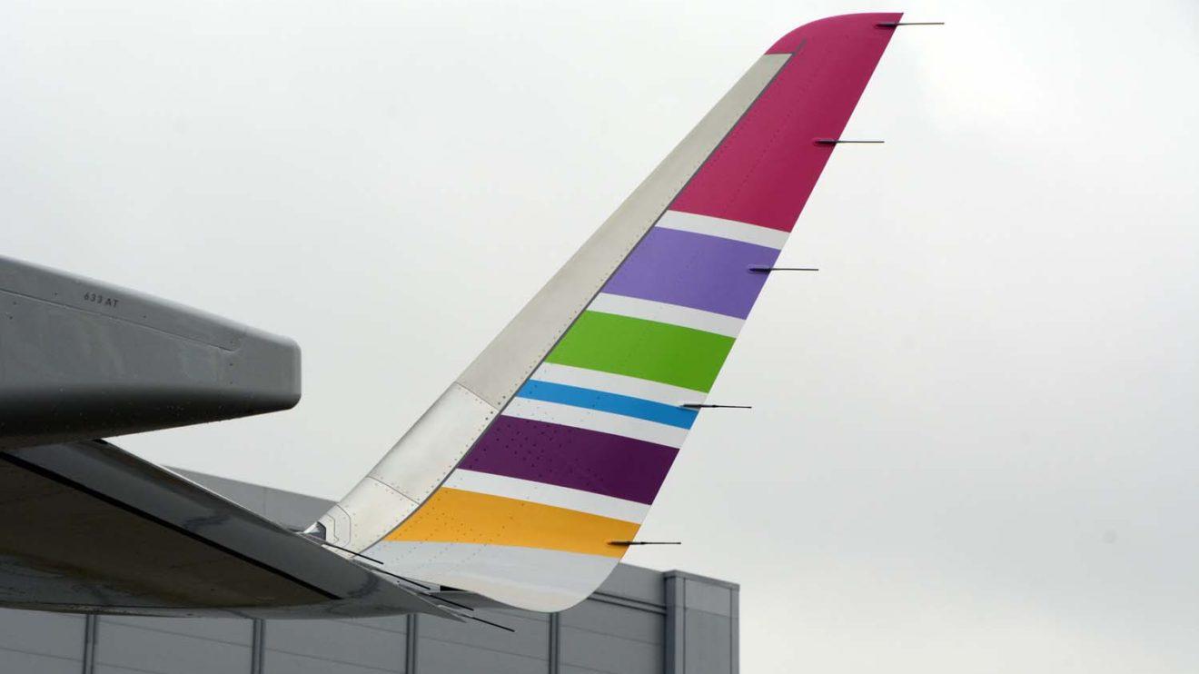 Los winglets repiten el esquema de colores elegido para la cola.