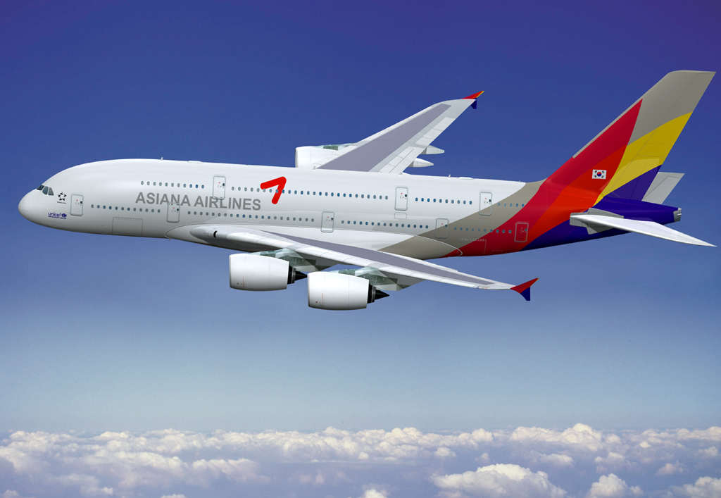 Airbus A380 con colores de Asiana Airlines