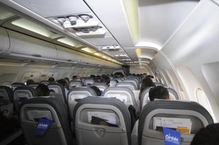 Asientos de clase turista en los A320 de Iberia