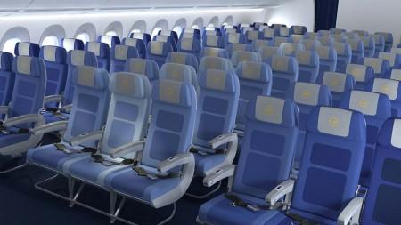 Los asientos de los A350 de Lufthansa son de nuevo diseño. Estos son los de turista.