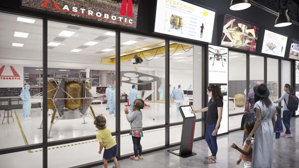 Receración del aspecto de la sala limpia para el ensamblaje de naves lunares que está construyendo Astrobiotic.