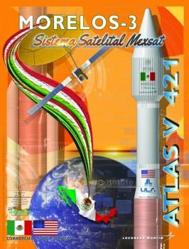 Emblema del lanzamiento del Morelos 3 a bordo del cohete Atlas V.