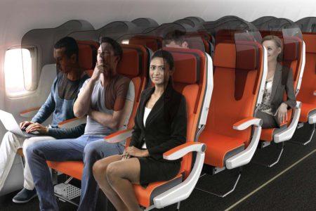 Una de las propuesta de la empresa Avio Interiors de asientos con mamparas de separación.c