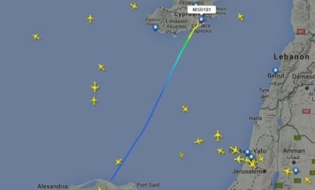 Recorrido del avui´n de EgyptAir secuestrado. Flightradar
