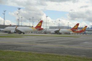 Aviones Airbus A320, A330 y A350 para aerolíneas chinas en el centro de entregas de AIrbus en Toulouse.
