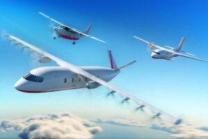 En primer plano el nuevo diseño del avión de 19 plazas de Dante Aeronautical.