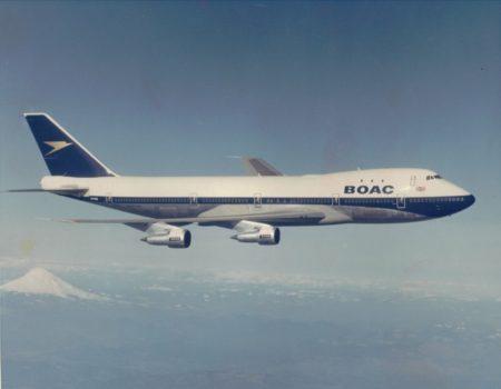 Boeing 747-100 de BOAC durante uno de sus vuelos de prueba previos a su entrega.