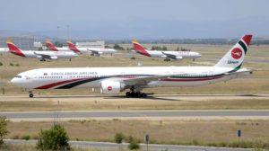 Boeing 777 de Biman Bangladesh rodando hacia la T4 de Barajas el 19 de junio para realizar un vuelo de repatriación hacia Bangladesh.