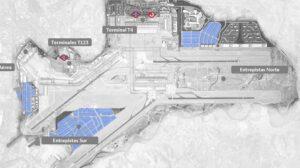 En azul los tres nuevos polos logísticos en el aeropuerto de Madrid-Barajas.q