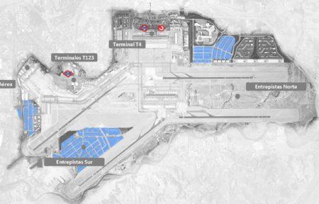 En azul las zonas donde se desarrollará el polo logístico en el Plan Inmobiliario del aeropuerto Madrid Barajas.
