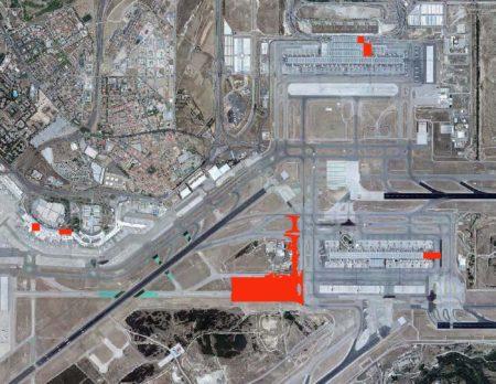 En rojo las principales zonas de actuación del nuevo plan director del aeropuerto de Madrid Barajas.
