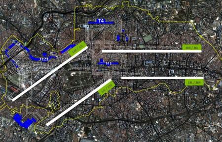 El aeropuerto de Batajas sobre la ciudad de Madrid