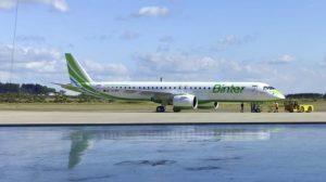 El quinto Emrbaer E195-E2 de Binter listo para partir de Sao Joie dos Campos en su vuelo de entrega.q