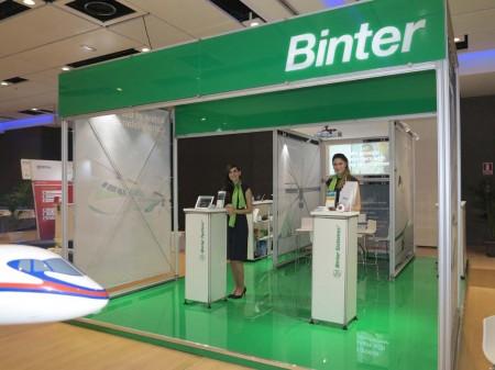 Stand de Binter en la exposición durante la Asamblea General de la ERA en Madrid.