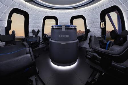 Interior de la cápsula de Blue Origins para llevar turistas al espacio.