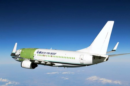 El primer Boeing 737-700 convertido a carguero por IAI durante uno de sus vuelos de prueba y certificación.