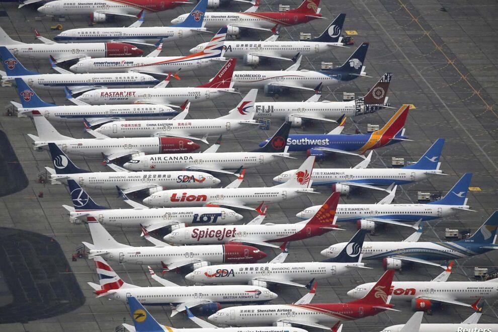 Aviones Boeing 737 MAX almacenados antes de reiniciarse las entregas.