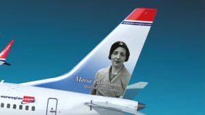 Norwegian, con María Zambrano, contará ya con 109 famosos en las colas de sus aviones.