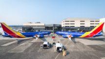 Dos Boeing 737 MAX de Southwest en el centro de entregas de Boeing.