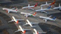 Algunos de los más de 100 B-737 MAX almacenados en Moses Lake.