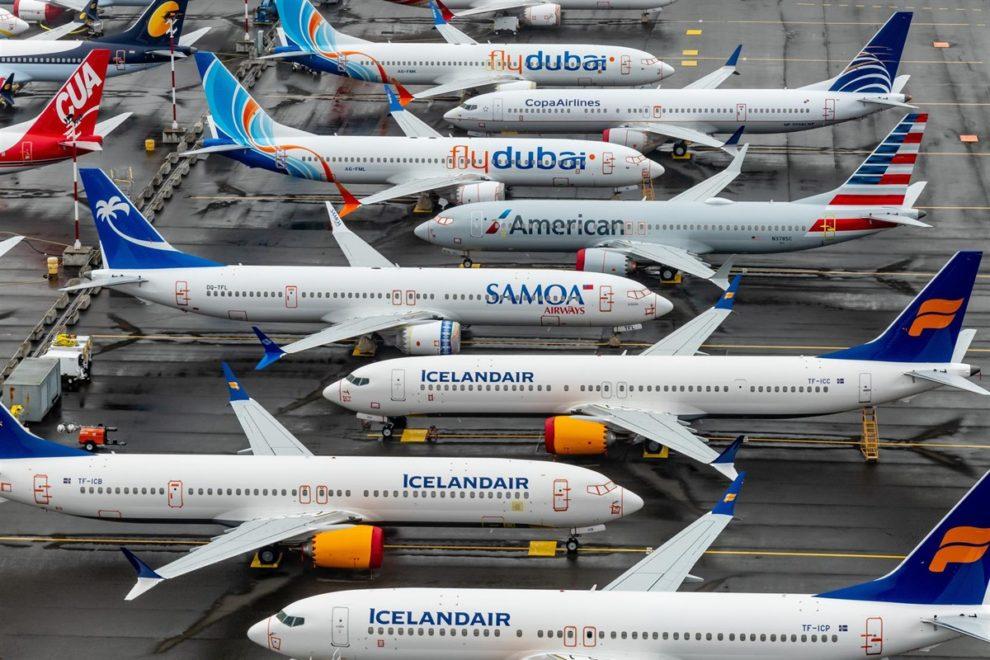 Aviones Boeing 737 MAX almcenados en la factoría de Boeing.
