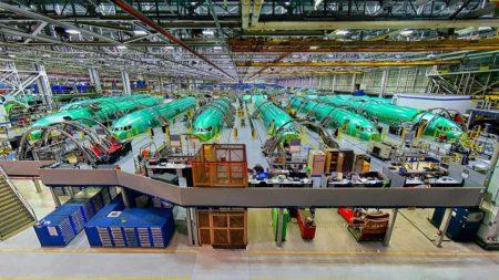 Producción de fuselajes de Boeing 737 MAX.