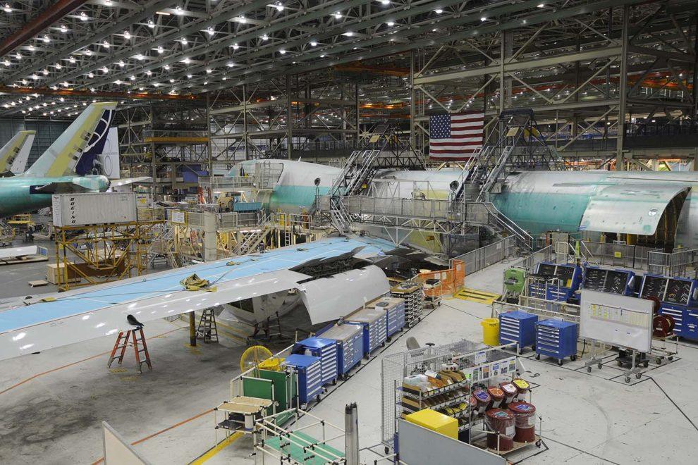 Cadena de montaje del Boeing 747 en Everett.