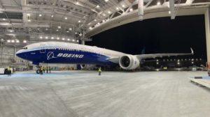 El prototipo del Boeing 777-9, cuyo primer vuelo sigue retrasándose.