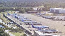 Aviones Boeing 787 aparcados en la factoría de Charleston a la espera de su entrega.