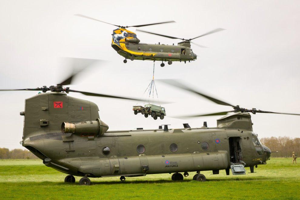Helicópteros CH-47 Chinook de la RAF.