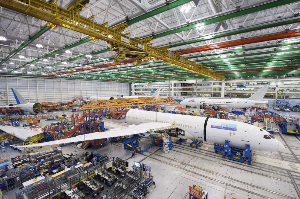 Montaje del primer B-787 de Air Europa en la factoría de North Charleston eb 2016. Allí se han montado todos los de la aerolínea salvo tres.