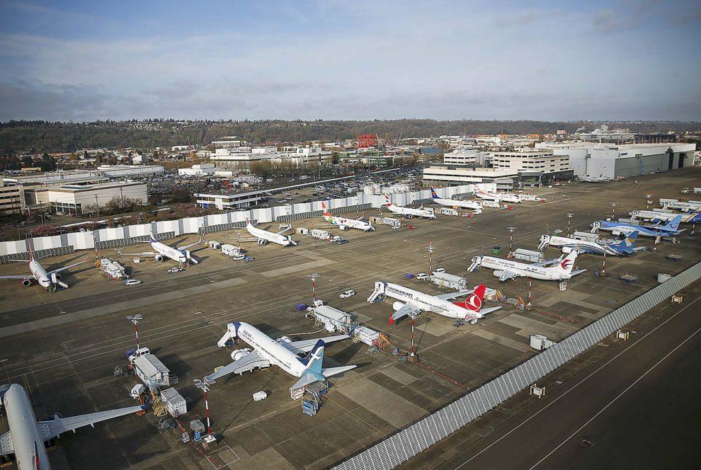 Aviones Boeing 737 MAX almacenados en Boeing Field a la espera de su entrega.