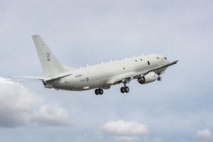Despegue de Renton del primer Boeing P-8 de la RAF en su primer vuelo.