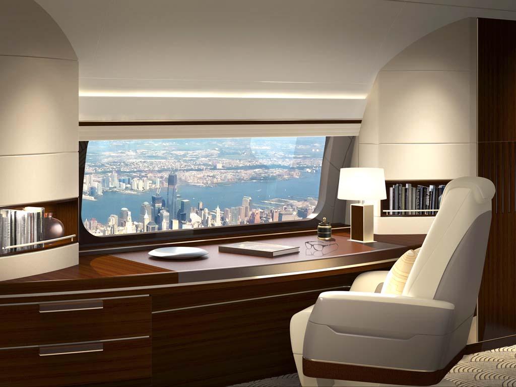 Aspecto que tendrá la nueva Skyview Panoramic para las versiones ejecutivas del Boeing 737.