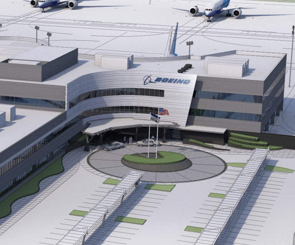 Imagen del nuevo edificio de entregas de Boeing en Everett.