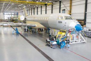 Cadena de montaje del Bombardier Global 7000.