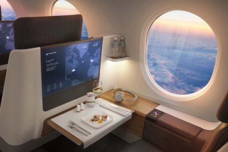 Así podrían ser los asientos del Overture, individuales y con su propia super ventanilla.