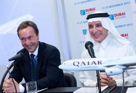 Fabrice bregier y Akbar Al Baker CEOs de Airbus y Qatar Airways