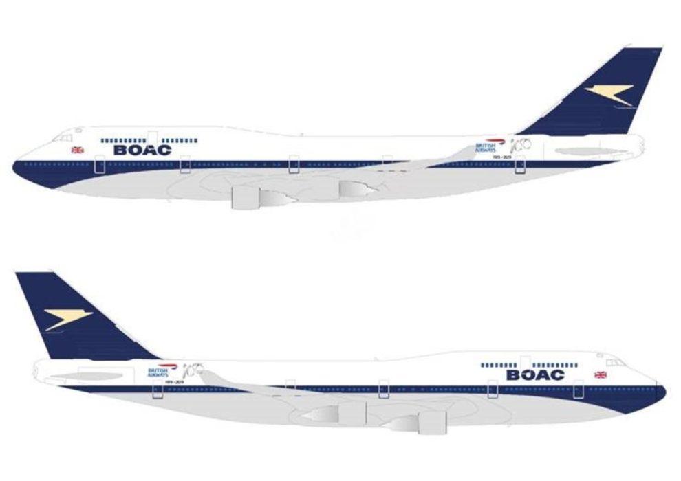 Así será el Boeing 747-400 de British Airways pintado de BOAC.