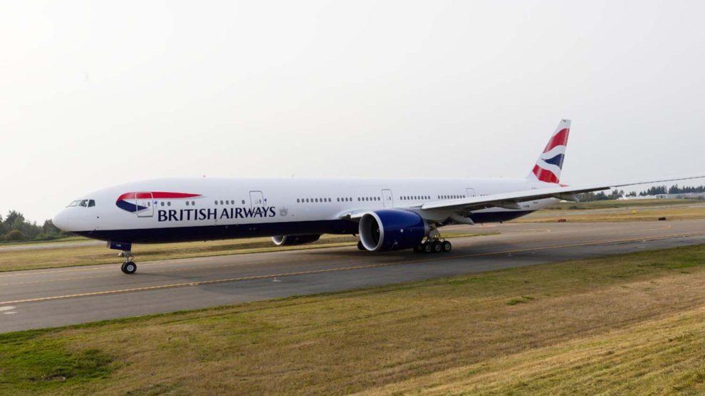 El B-777-300ER que Boeing entregó a Novus Aviation para British Airways.