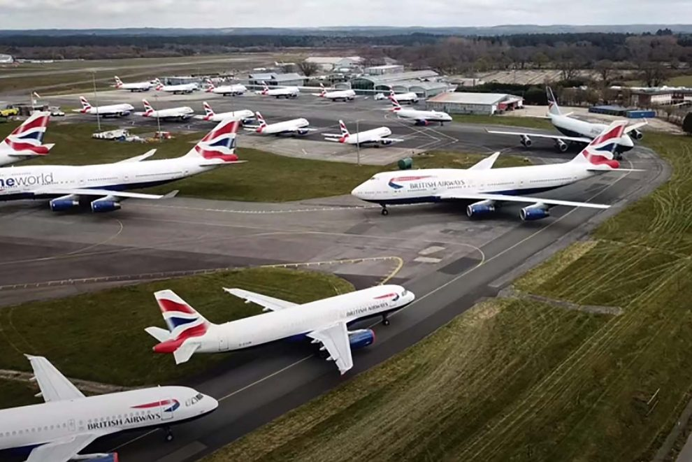 Aviones de British Airways almacenados en el aeropuerto de Bournemoutj.