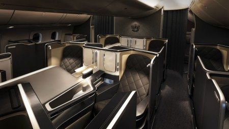 Asientos de primera clase en los Boeing 787-9 de British Airways.