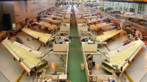 Cadena de montaje de alas para la familia Airbus A320 en Broughton.