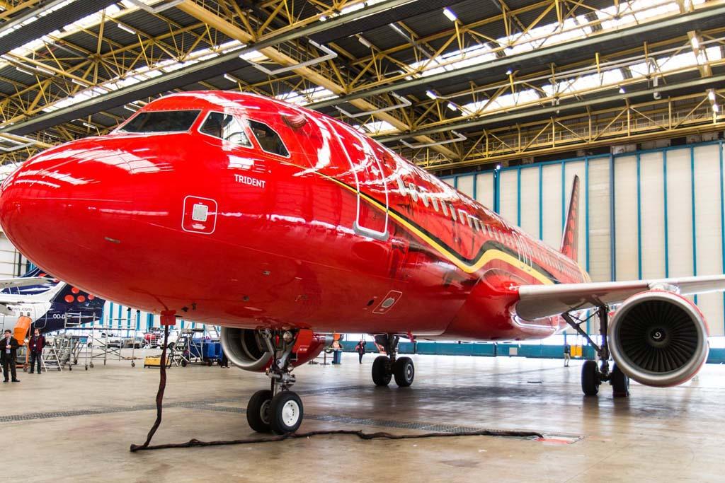 OO-SNA el Airbus A320 que Brussels Airlines ha dedicado a la selección belga de fútbol.